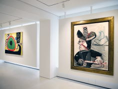 Installation view of Selected Works by 20th Century Masters featuring a different angle of the two paintings of Joan Miró, Oiseaux en Fête pour le lever du Jour, 21 Mars 1968, 1968 Oil on canvas 130 x 195 cm. (51 1/8 x 76 3/8 in.) and Pablo Picasso, Mousquetaire aux Oiseaux II, 13 January 1972, 1972 Oil on canvas 146 x 114 cm. (57 1/2 x 44 7/8 in. )installed on the same wall of the main gallery space. Photography by Bianca Boragi. ©Helly Nahmad Gallery NY.