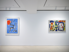 Installation view of Selected Works by 20th Century Masters featuring two paintings.  From left to right, Joan Miró, Oiseaux devant le soleil, 1978 Oil on canvas 116 x 89 cm. (45 5/8 x 35 in.), Fernand Léger, Composition aux Trois Profils, 1937, Oil on canvas 89 x 130 cm. (35 x 51 1/4 in.). Photography by Bianca Boragi. ©Helly Nahmad Gallery NY.