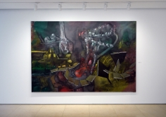Installation view of Selected Works by 20th Century Masters featuring Roberto Matta's painting, Dar a Luz un Mundo, 1960.