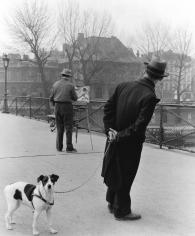 Robert Doisneau, Fox Terrier sur le Ponts de Arts (Fox Terrier on the Pont des Arts), with painter Daniel Pipard, Paris, France, 1953
