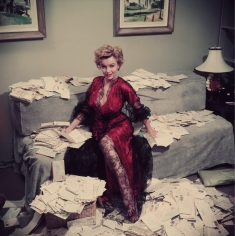 """Slim Aarons, Fan Mail, 1952: Marilyn Monroe sorts out her fan mail shortly after her film """"The Asphalt Jungle"""" had been released, Beverly Hills"""