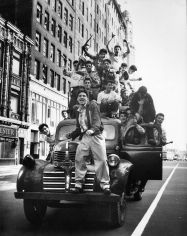Martha Holmes, Brooklyn Dodger fans celebrating 1955 World Series victory, Flatbush Avenue, Brooklyn, 1955