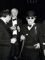Ron Galella Lester Persky, Andy Warhol and Truman Capote at Steve Rubell's birthday party, Studio 54, New York, 1978