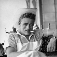 Sid Avery, James Dean on the set of Giant, Los Angeles, California, 1955