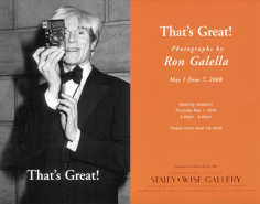 Ron Galella, Exhibition Invitation