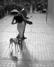 William Helburn, Simone D'Aillencourt with Whippet, Penn Station, 1959