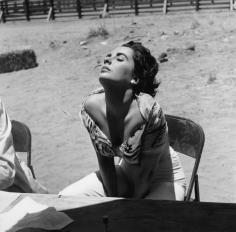 Sid Avery, Elizabeth Taylor on the set of Giant, Marfa, Texas, 1955