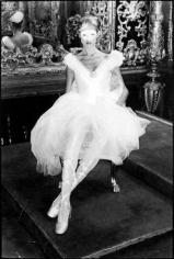 Chris von Wangenheim, Model in white dress and mask, circa 1978
