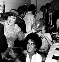 Ron Galella Bella Abzug, Liz Taylor, Shirley MacLaine, Mamie Van Vooren, Andy Warhol and Jacque Bellini at Bella Abzug's birthday party, Le Prive, NYC, July 30, 1976