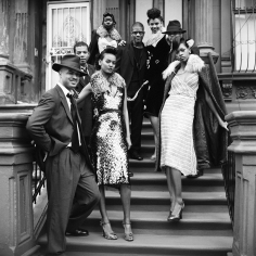 Arthur Elgort, Pianist Jason Moran, guitarist Mark Whitfield, saxophonist David Sánchez, and the band leader Paul Ellington, with models wearing outfits by Prada, 2000