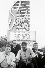Bob Willoughby, Rat Pack rogues Peter Lawford, Frank Sinatra, Sammy Davis Jr. and Dean Martin photographed at the Sands Hotel in Las Vegas, 1960
