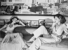 Chris Von Wangenheim, Untitled, Two Women on Sofa in front of Cityscape