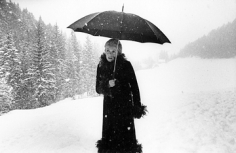 Mary Ellen Mark, Catherine Deneuve waiting in the snow on the set  of Mississippi Mermaid,  Grenoble, France, 1969