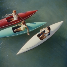 Slim Aarons, Lake Tahoe Trip: Young women canoeing at Zephyr Cove on the Nevada side of Lake Tahoe, USA, 1959