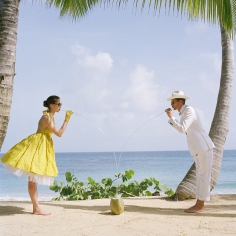 Rodney Smith, Saori and Jimmy Drinking from a Coconut, Dominican Republic, 2010
