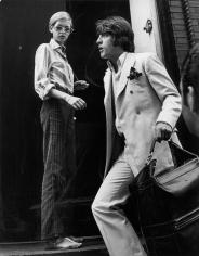 Ron Galella, Twiggy and Justin de Villeneuve entering Bert Stern's studio, New York, 1967