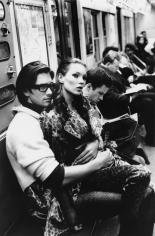 Stephanie Pfriender Stylander, Kate Moss and Marcus Schenkenberg on the C train, New York, Italian Harper's Bazaar, 1992