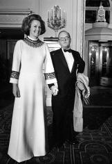 "Harry Benson, Truman Capote and Katharine Graham at Truman Capote's ""Black and White"" Ball at the Plaza Hotel, New York, 1966"