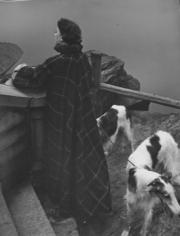 Genevieve Naylor, Red Scotch Cape, New York, Harper's Bazaar, 1950