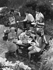 Sid Avery, Rock Hudson entertaining friends at his home in Hollywood, 1952