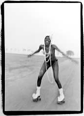 Bruce Laurance, Grace Jones at Compo Beach, Connecticut, 1973
