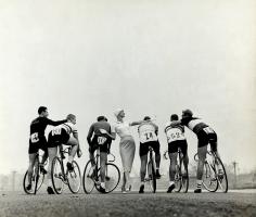 Tom Palumbo, Model with Bikers, Harper's Bazaar, February 1956
