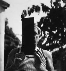 Lee Miller  Pablo Picasso holding a sun visor, Hotel Vaste Horizon, Mougins, France, 1937