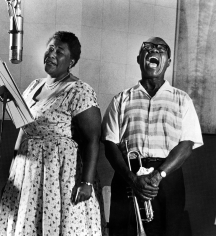 "Phil Stern, Ella Fitzgerald and Louis Armstrong recording the album ""Ella and Louis"", 1956"