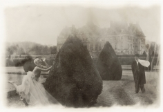 Deborah Turbeville, Rosima in Comme des Garçons at Vaux le Vicomte, France, for Parco, 1985