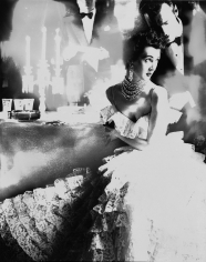 Lillian Bassman, In This Year of Lace, Dovima, Dress by Jane Derby, The Plaza Hotel, New York, Harper's Bazaar, October 1951