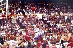 George Kalinsky, Patrick Ewing and Michael Jordan, 1989