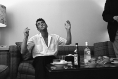 """Sid Avery, Dean Martin in his dressing room, """"ostentatiously avoiding temptation,"""" in Hollywood, 1961"""