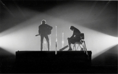 Daniel Kramer, Bob Dylan and Joan Baez in Crossed Lights, New Haven, Connecticut, 1965