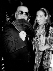 "Ron Galella, Karl Lagerfeld and Miuccia Prada, ""7th on Sale"" Benefit for AIDS, New York, 1990"