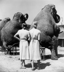 Louise Dahl-Wolfe Twins, with Elephants, Sarasota, Florida,1947