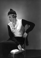 Hoyningen-Huene, Untitled (Model in white dress with black sleeves), Vintage Print