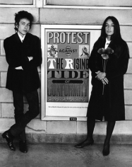 Daniel Kramer, Bob Dylan and Joan Baez with Protest Sign, Newark Airport, 1964