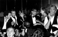 Anton Perich, Halston, Loulou de la Falaise, Yves St. Laurent, Nan Kempner, and friends, Studio 54, New York, circa 1970