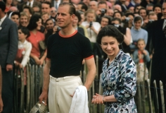 Slim Aarons, Royal Winner, 1955: Prince Philip receives Windsor Cup at the Ascot Polo Tournament with Queen Elizabeth II
