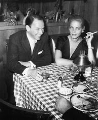 Frank Worth, Frank Sinatra and Lauren Bacall at Musso & Frank Grill, 1957