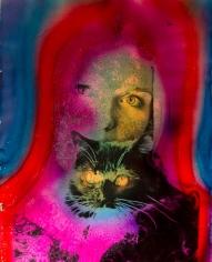 Kali, Debbie with Kitty, Palm Springs, CA, 1969