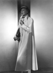George Hoyningen-Huene, Untitled (Standing model in long white coat with hat, purse, and gloves), Vintage Print