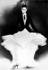 Lillian Bassman In Full Swing: Shalom Harlow in Jean Paul Gaultier, The New York Times Magazine, 1998