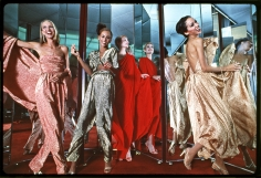 Harry Benson, Halstonettes: Karen Bjornsen, Alva Chinn, Connie Cook, and Pat Cleveland in Halston Dresses, New York, 1977
