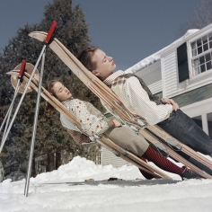 Slim Aarons, New England Skiing, 1955: Two women recline on improvised sunbeds in Cranmore Mountain, New Hampshire