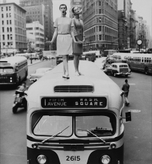 William Helburn, Bus Stop, Dovima and Jean Patchett, Madison Square, Harper's Bazaar, 1958