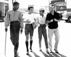 Phil Stern, Sidney Poitier, Tony Curtis, Sammy Davis Jr. & Jack Lemmon on the Lot of Goldwyn Studios, 1959