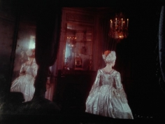 Deborah Turbeville, Unseen Versailles, 1980 (Woman in period costume and chandelier)