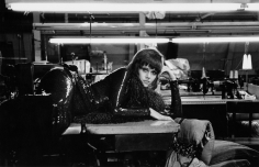 """Bob Willoughby, Jane Fonda resting in a New York City garment factory during shooting of """"Klute,"""" 1970"""