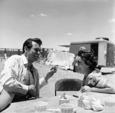 "Sid Avery, Rock Hudson and Elizabeth Taylor taking a break on the set of ""Giant"",1955"